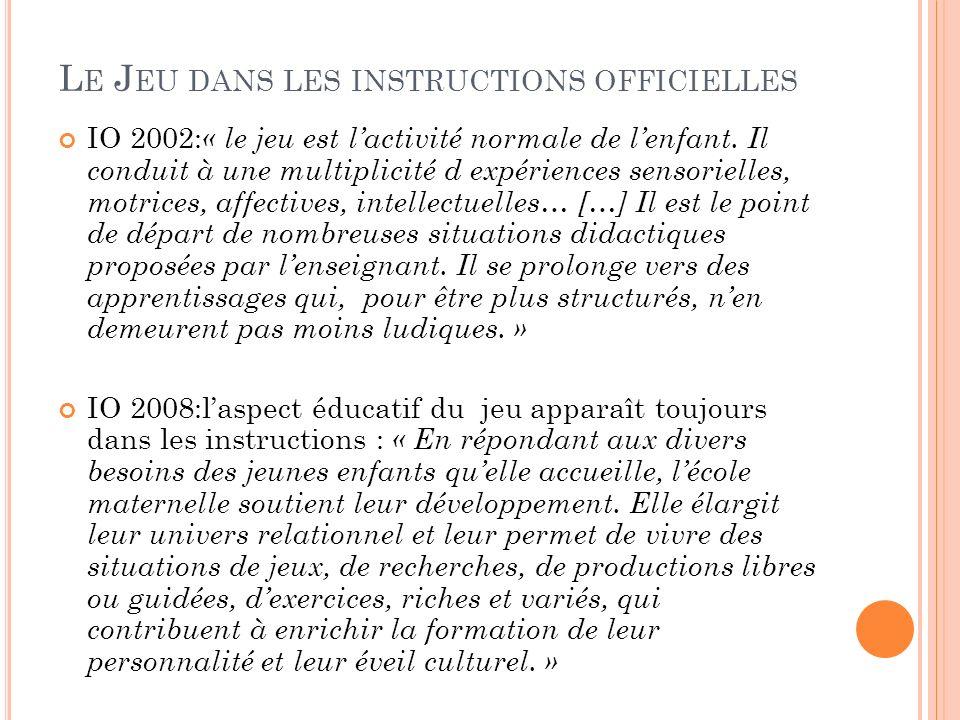L E J EU DANS LES INSTRUCTIONS OFFICIELLES IO 2002: « le jeu est lactivité normale de lenfant.
