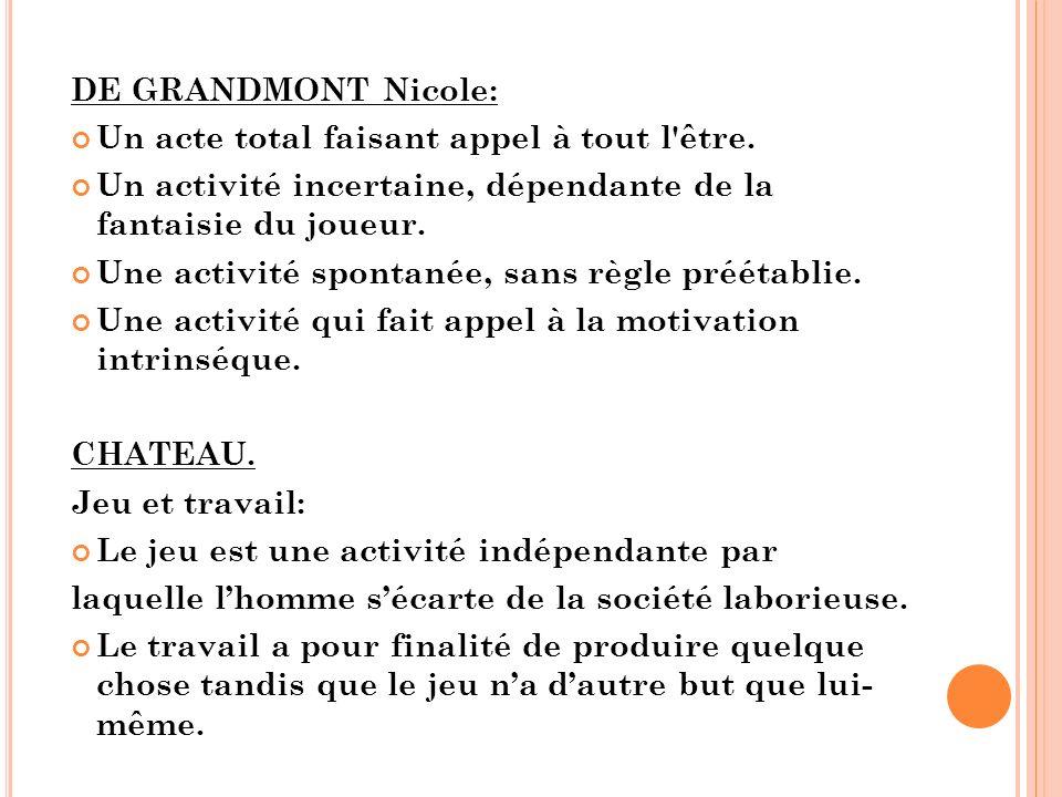 DE GRANDMONT Nicole: Un acte total faisant appel à tout l être.