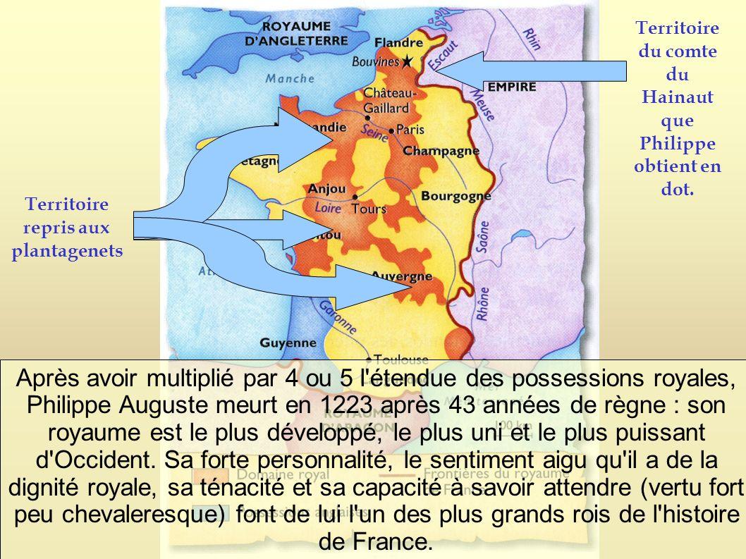 Après avoir multiplié par 4 ou 5 l'étendue des possessions royales, Philippe Auguste meurt en 1223 après 43 années de règne : son royaume est le plus