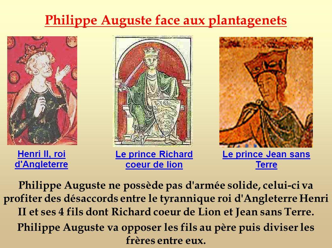 Philippe Auguste ne possède pas d'armée solide, celui-ci va profiter des désaccords entre le tyrannique roi d'Angleterre Henri II et ses 4 fils dont R