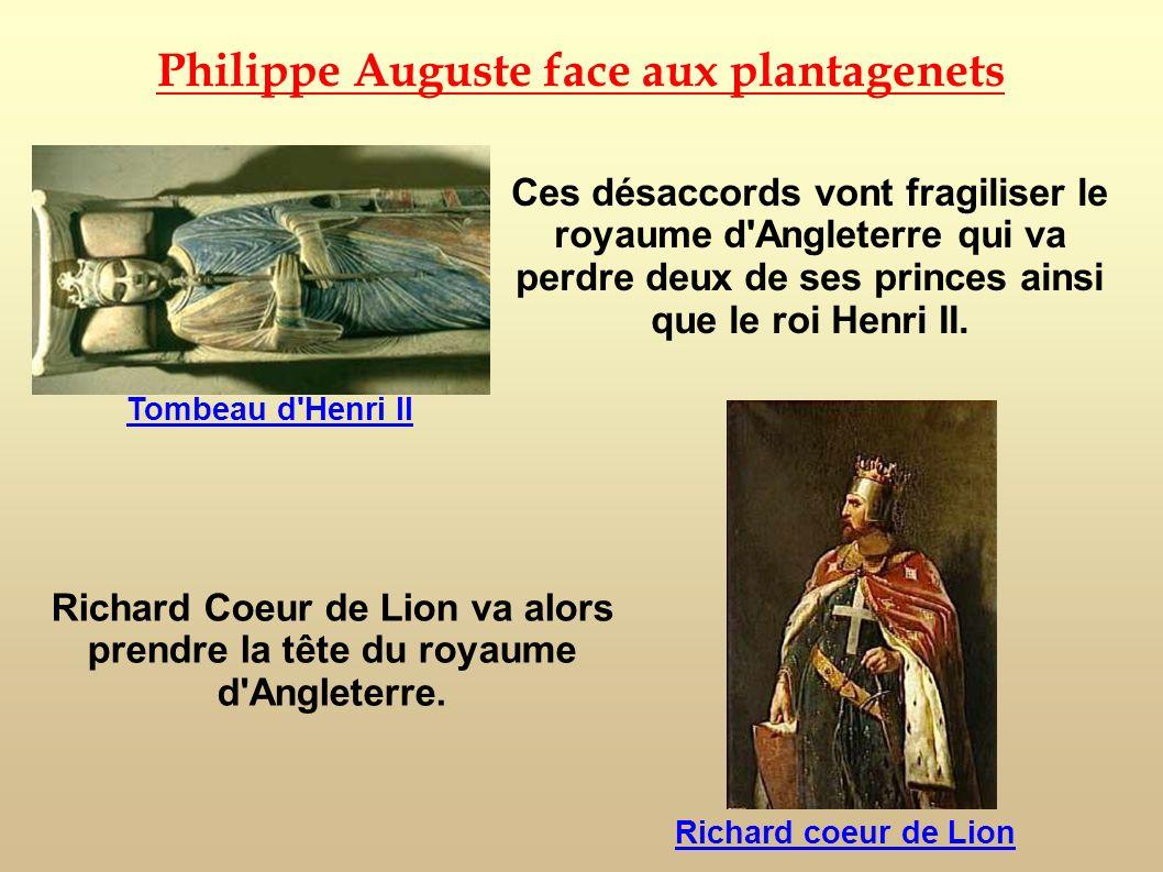 Ces désaccords vont fragiliser le royaume d'Angleterre qui va perdre deux de ses princes ainsi que le roi Henri II. Philippe Auguste face aux plantage