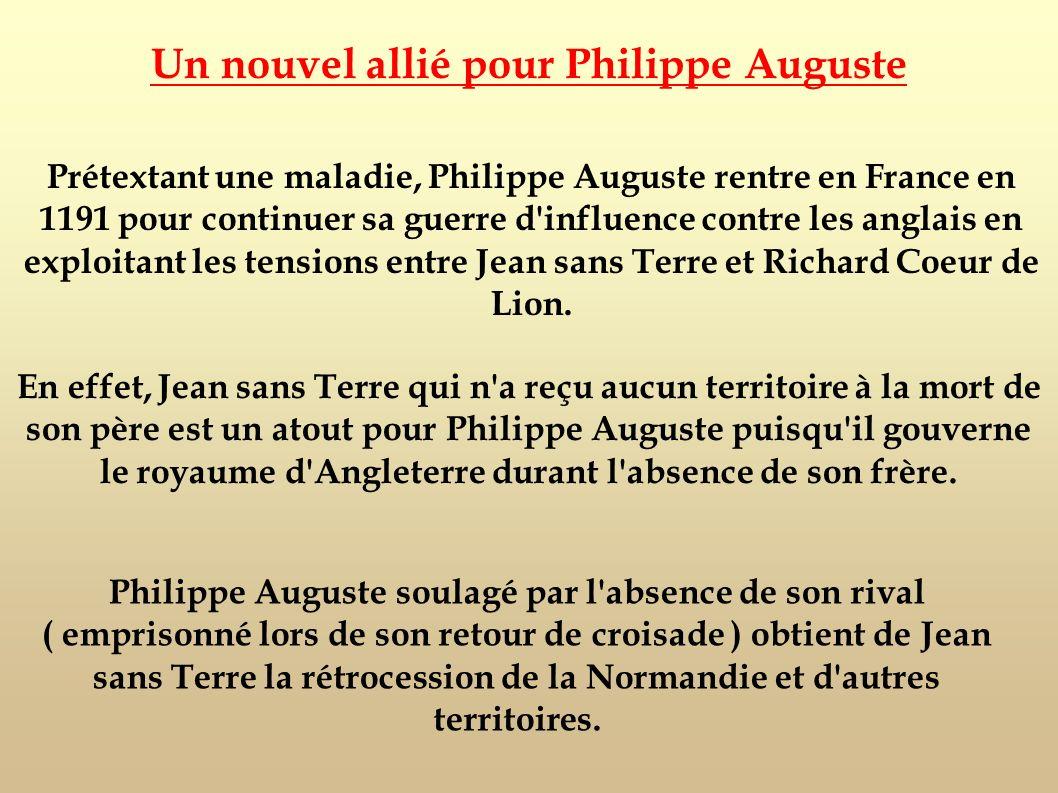 Prétextant une maladie, Philippe Auguste rentre en France en 1191 pour continuer sa guerre d'influence contre les anglais en exploitant les tensions e