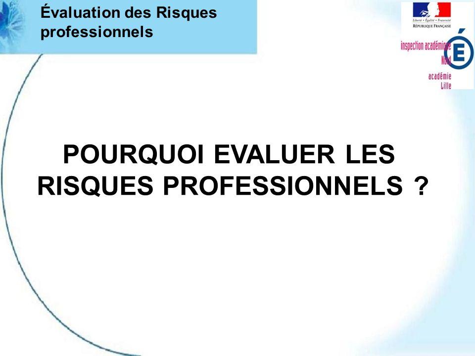 POURQUOI EVALUER LES RISQUES PROFESSIONNELS ? Évaluation des Risques professionnels