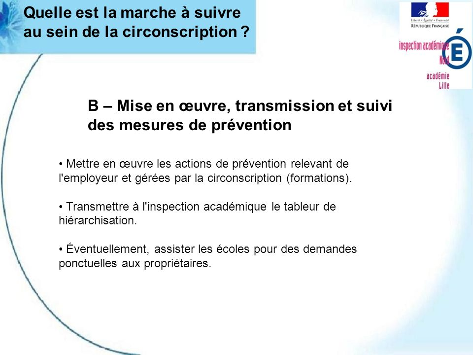 B – Mise en œuvre, transmission et suivi des mesures de prévention Mettre en œuvre les actions de prévention relevant de l'employeur et gérées par la