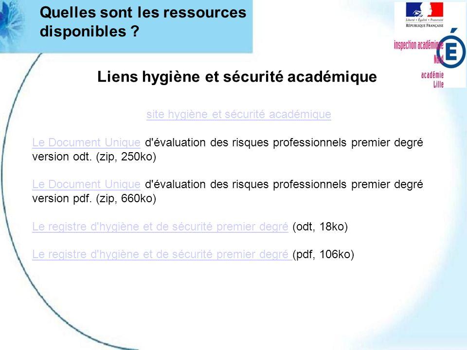 Quelles sont les ressources disponibles ? Liens hygiène et sécurité académique site hygiène et sécurité académique Le Document UniqueLe Document Uniqu