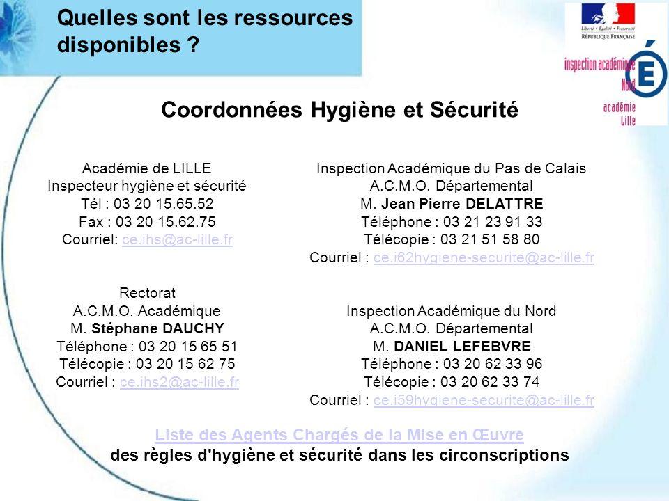 Quelles sont les ressources disponibles ? Coordonnées Hygiène et Sécurité Académie de LILLE Inspecteur hygiène et sécurité Tél : 03 20 15.65.52 Fax :