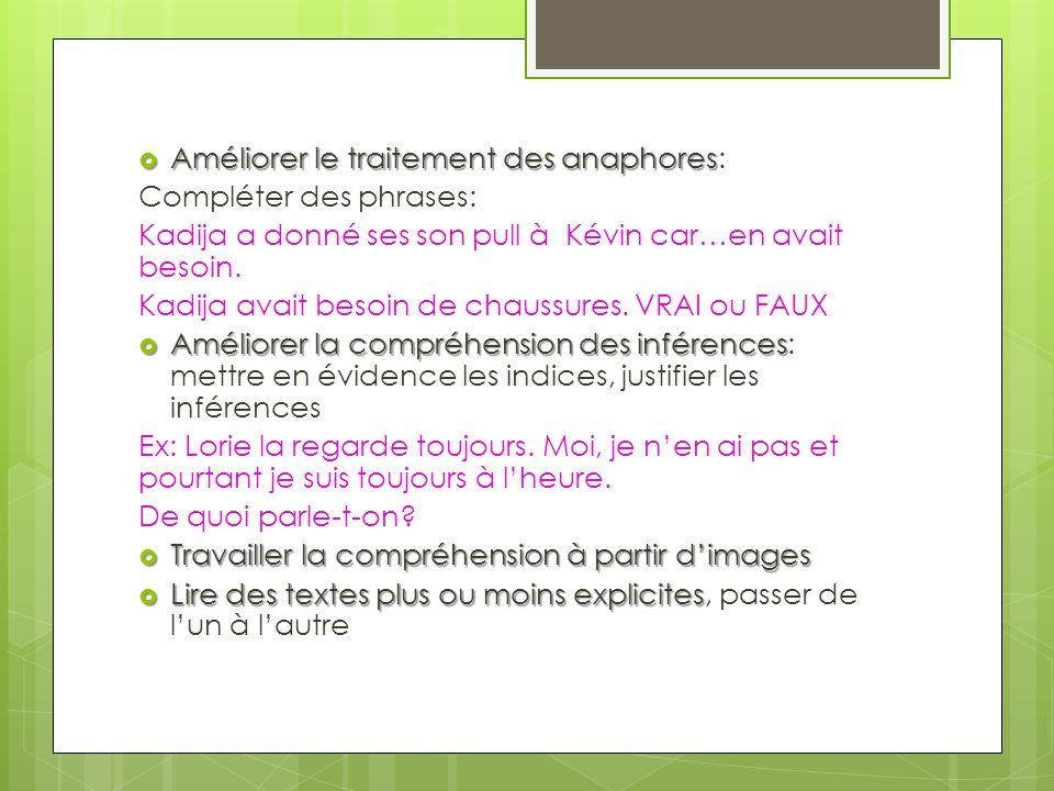 Améliorer le traitement des anaphores Améliorer le traitement des anaphores: Compléter des phrases: Kadija a donné ses son pull à Kévin car…en avait besoin.