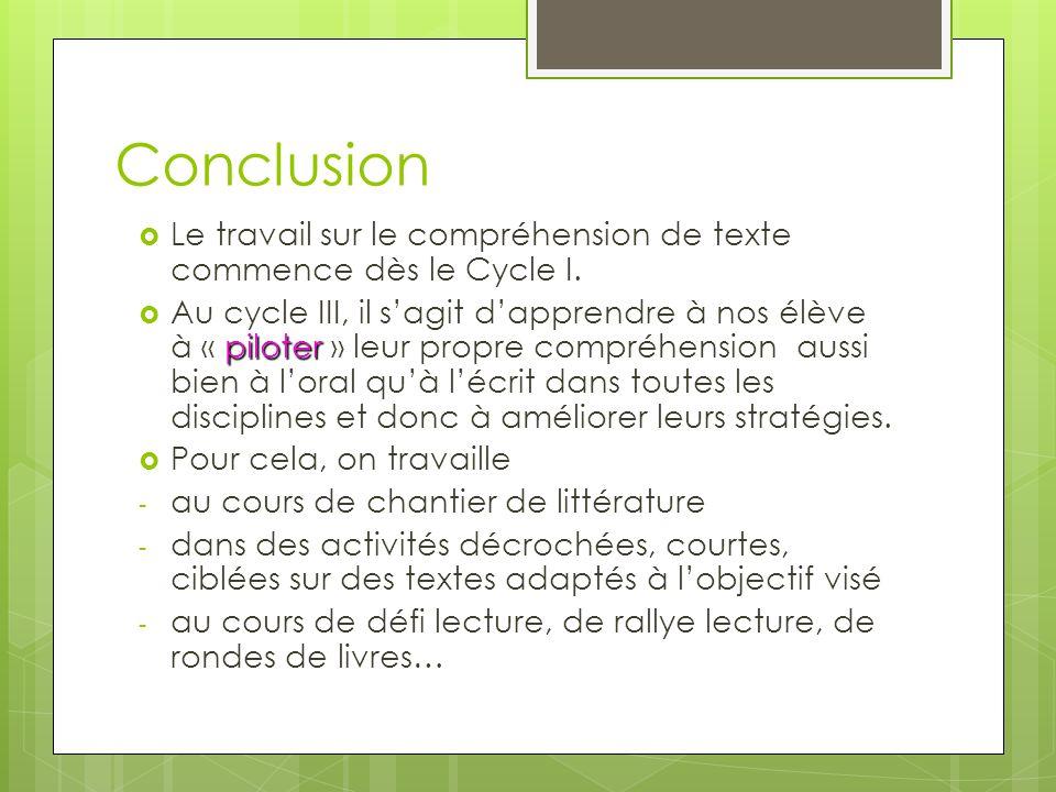 Conclusion Le travail sur le compréhension de texte commence dès le Cycle I.