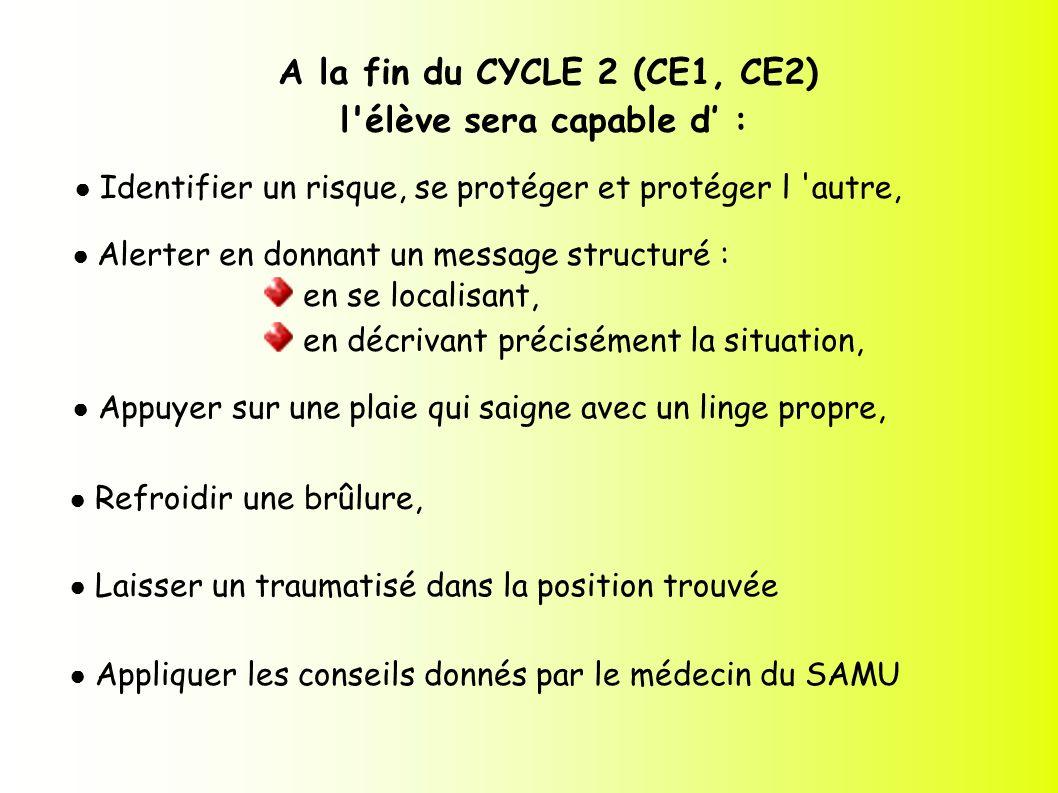 A la fin du CYCLE 2 (CE1, CE2) l'élève sera capable d : Identifier un risque, se protéger et protéger l 'autre, Alerter en donnant un message structur