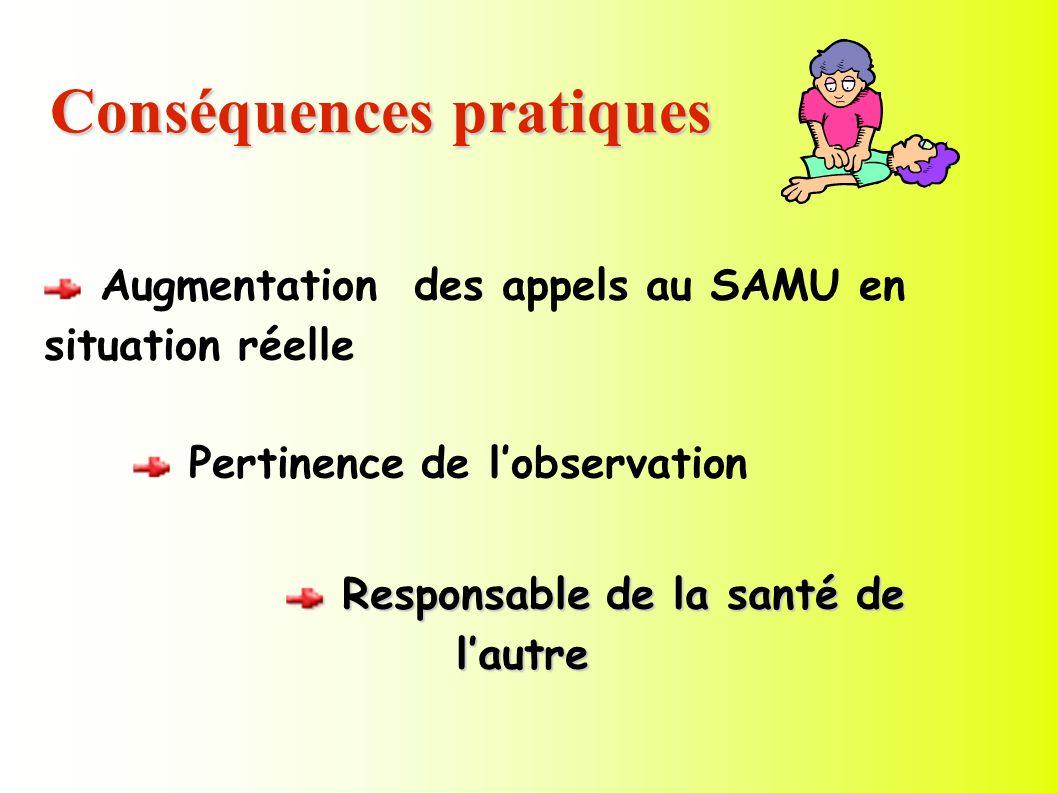 Conséquences pratiques Augmentation des appels au SAMU en situation réelle Pertinence de lobservation Responsable de la santé de lautre Responsable de