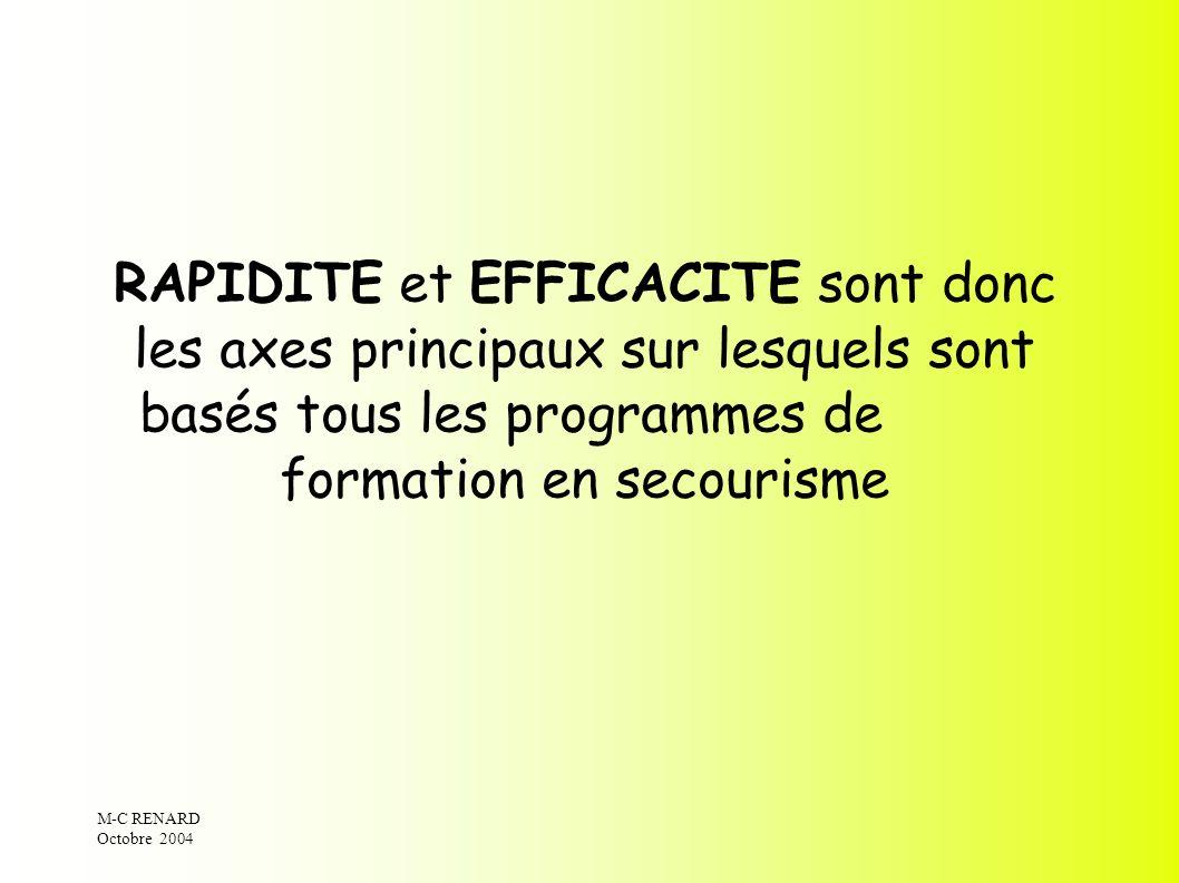 M-C RENARD Octobre 2004 RAPIDITE et EFFICACITE sont donc les axes principaux sur lesquels sont basés tous les programmes de formation en secourisme