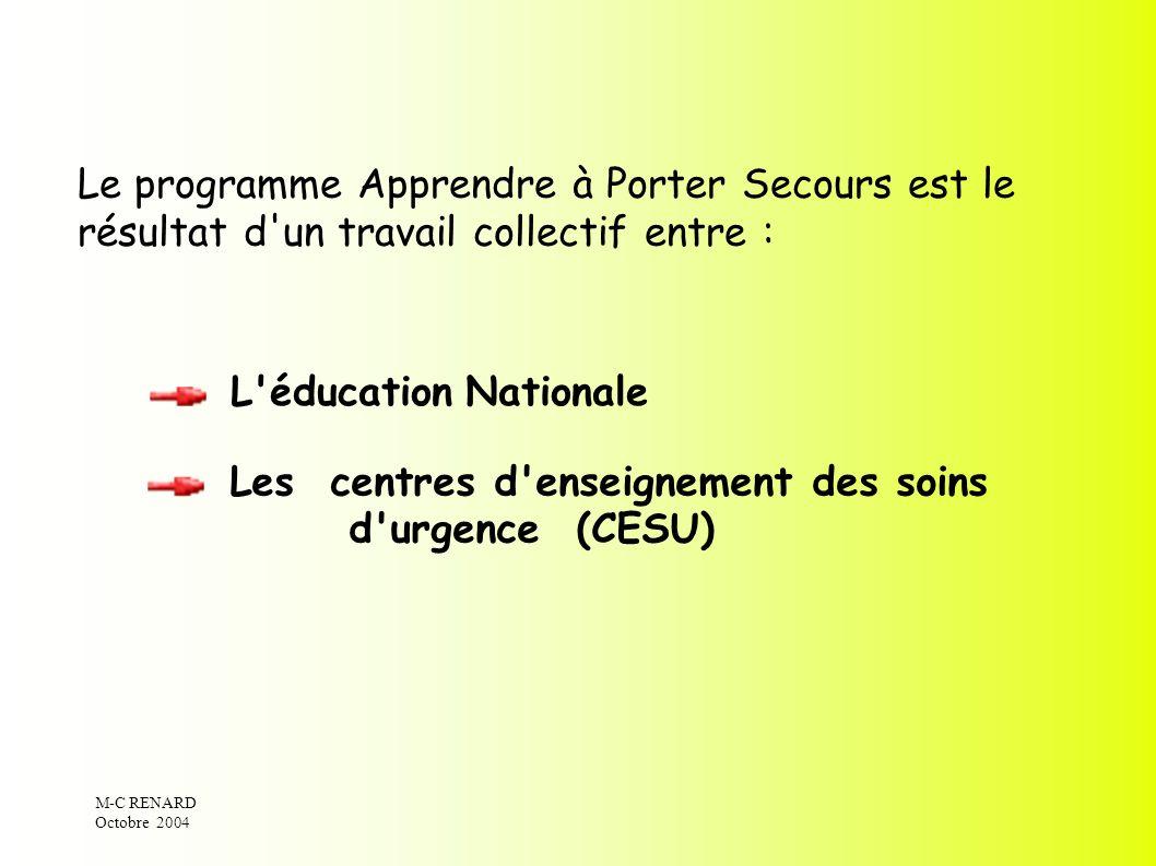 M-C RENARD Octobre 2004 L'éducation Nationale Les centres d'enseignement des soins d'urgence (CESU) Le programme Apprendre à Porter Secours est le rés