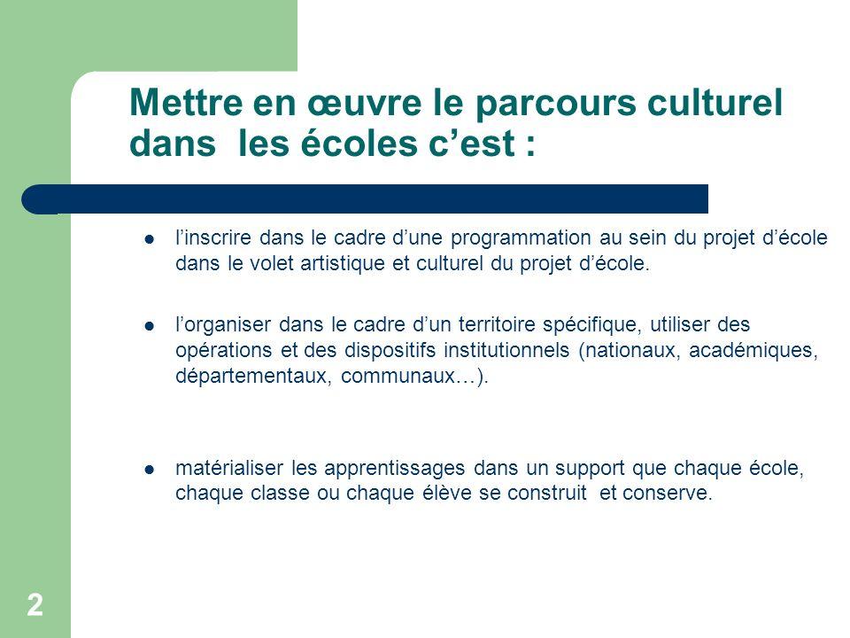 2 Mettre en œuvre le parcours culturel dans les écoles cest : linscrire dans le cadre dune programmation au sein du projet décole dans le volet artist