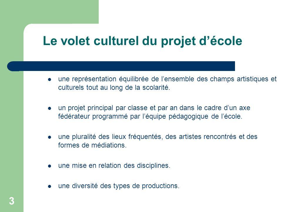 3 Le volet culturel du projet décole une représentation équilibrée de lensemble des champs artistiques et culturels tout au long de la scolarité. un p