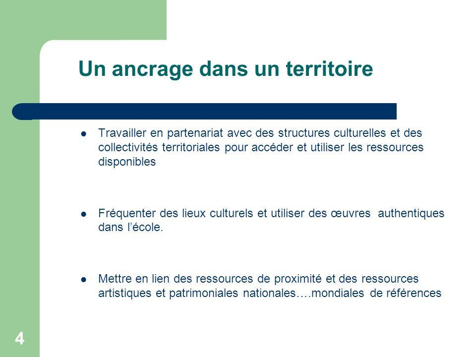 4 Un ancrage dans un territoire Travailler en partenariat avec des structures culturelles et des collectivités territoriales pour accéder et utiliser