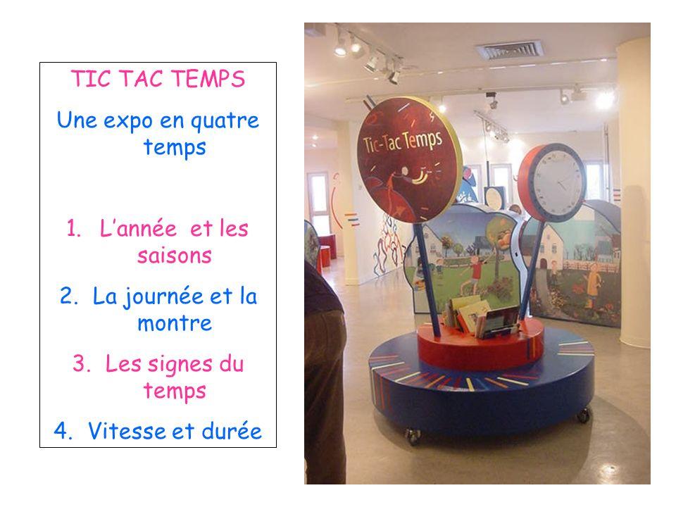 TIC TAC TEMPS Une expo en quatre temps 1.Lannée et les saisons 2.La journée et la montre 3.Les signes du temps 4.Vitesse et durée