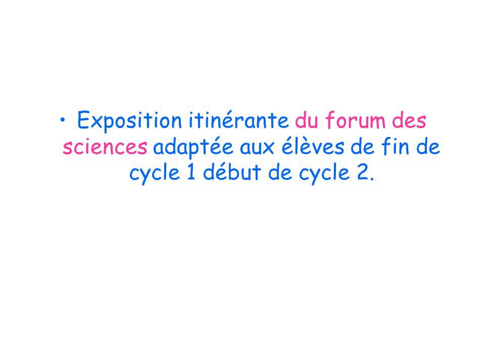 Exposition itinérante du forum des sciences adaptée aux élèves de fin de cycle 1 début de cycle 2.
