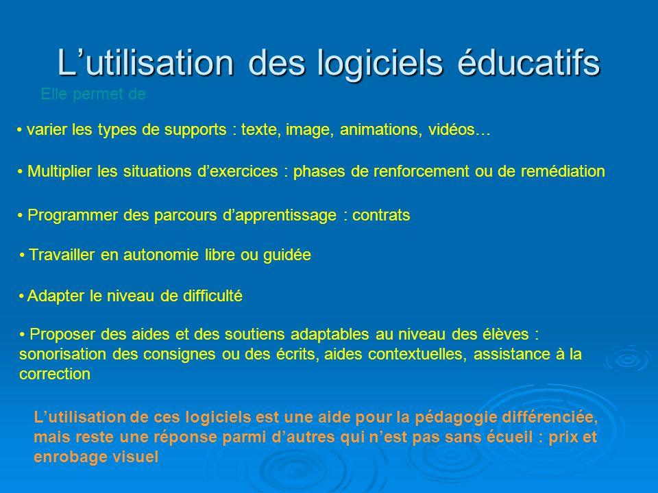 Lutilisation des logiciels éducatifs Lutilisation de ces logiciels est une aide pour la pédagogie différenciée, mais reste une réponse parmi dautres q
