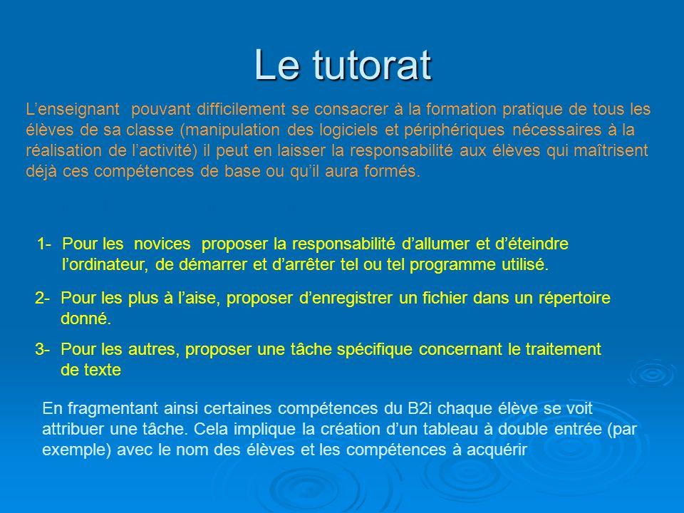 Le tutorat Lenseignant pouvant difficilement se consacrer à la formation pratique de tous les élèves de sa classe (manipulation des logiciels et périp