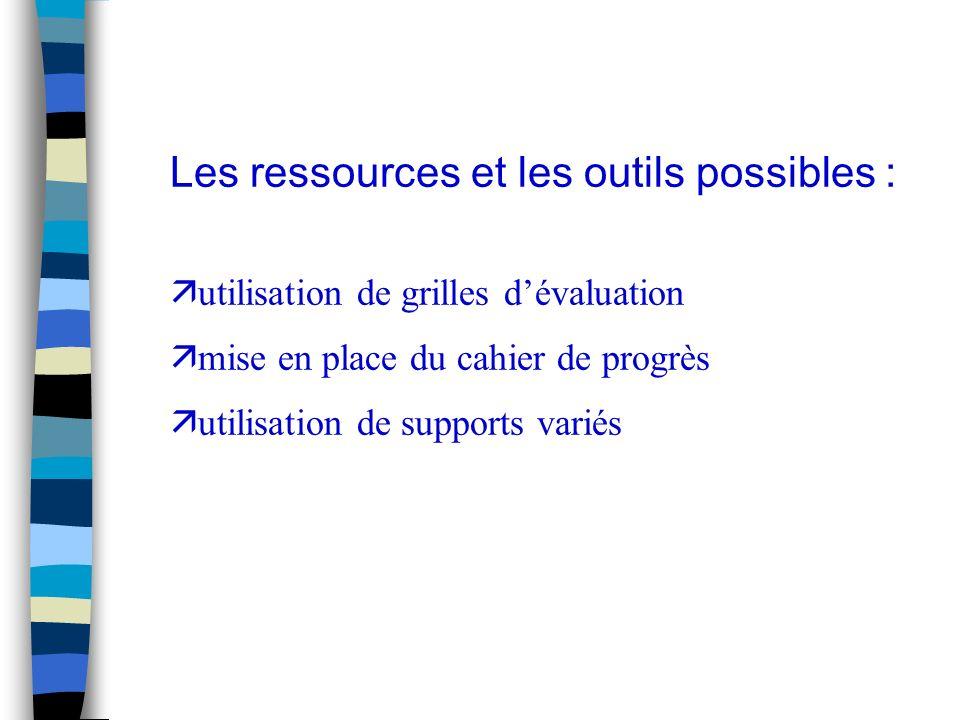 Les ressources et les outils possibles : ä utilisation de grilles dévaluation ä mise en place du cahier de progrès ä utilisation de supports variés