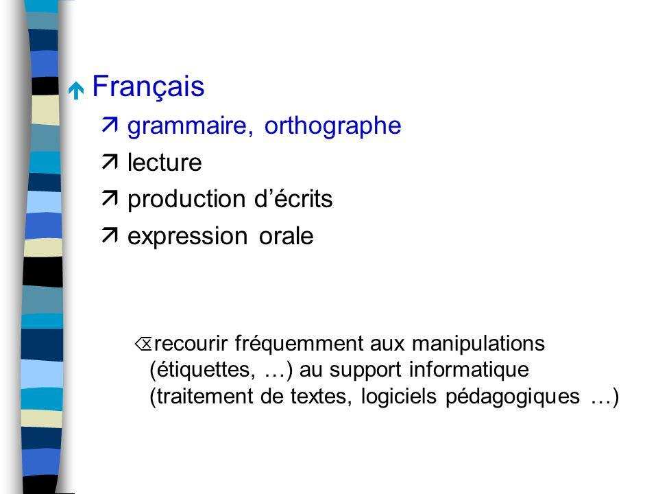 é Français ä grammaire, orthographe ä lecture ä production décrits ä expression orale Õ recourir fréquemment aux manipulations (étiquettes, …) au support informatique (traitement de textes, logiciels pédagogiques …)