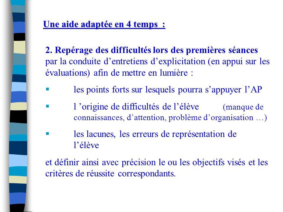 2. Repérage des difficultés lors des premières séances par la conduite dentretiens dexplicitation (en appui sur les évaluations) afin de mettre en lum
