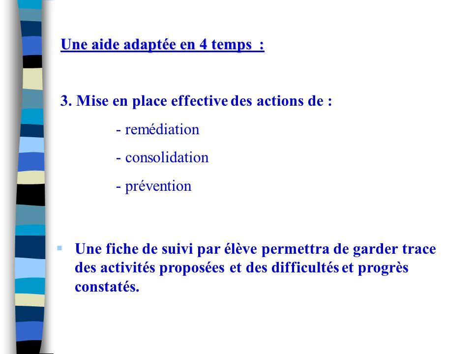 3. Mise en place effective des actions de : - remédiation - consolidation - prévention Une fiche de suivi par élève permettra de garder trace des acti