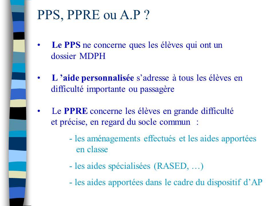 PPS, PPRE ou A.P .