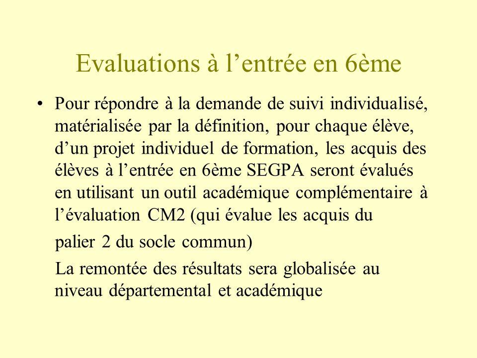 Evaluations à lentrée en 6ème Pour répondre à la demande de suivi individualisé, matérialisée par la définition, pour chaque élève, dun projet individ