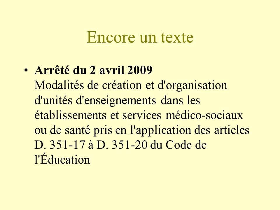 Encore un texte Arrêté du 2 avril 2009 Modalités de création et d'organisation d'unités d'enseignements dans les établissements et services médico-soc
