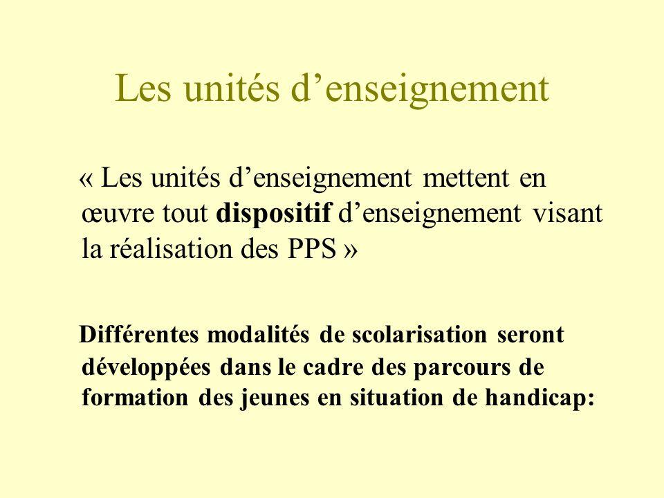 Les unités denseignement « Les unités denseignement mettent en œuvre tout dispositif denseignement visant la réalisation des PPS » Différentes modalit