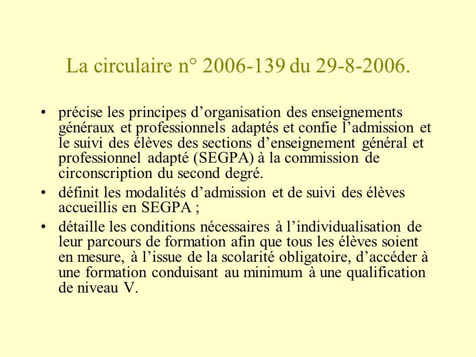 La circulaire n° 2006-139 du 29-8-2006. précise les principes dorganisation des enseignements généraux et professionnels adaptés et confie ladmission