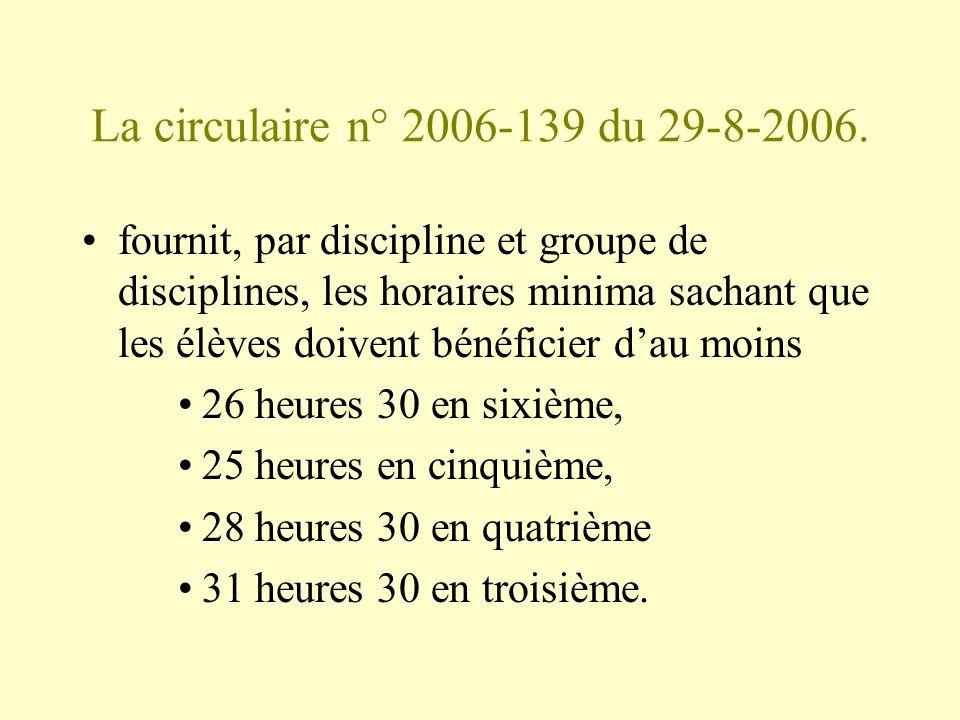 La circulaire n° 2006-139 du 29-8-2006. fournit, par discipline et groupe de disciplines, les horaires minima sachant que les élèves doivent bénéficie