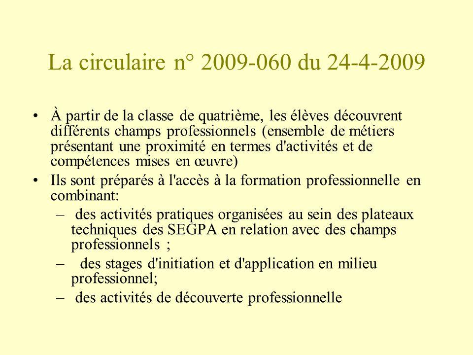 La circulaire n° 2009-060 du 24-4-2009 À partir de la classe de quatrième, les élèves découvrent différents champs professionnels (ensemble de métiers