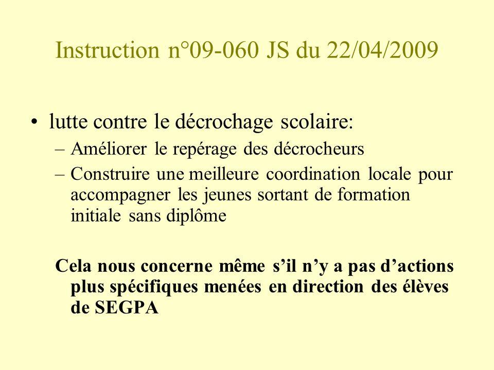 Instruction n°09-060 JS du 22/04/2009 lutte contre le décrochage scolaire: –Améliorer le repérage des décrocheurs –Construire une meilleure coordinati