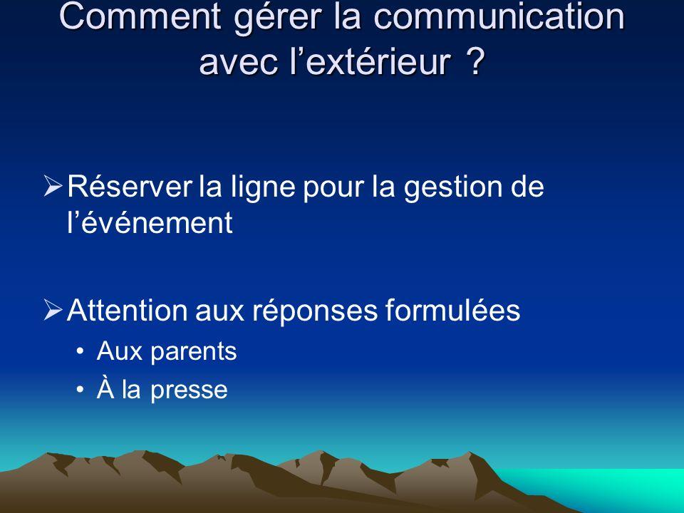 Comment gérer la communication avec lextérieur ? Réserver la ligne pour la gestion de lévénement Attention aux réponses formulées Aux parents À la pre