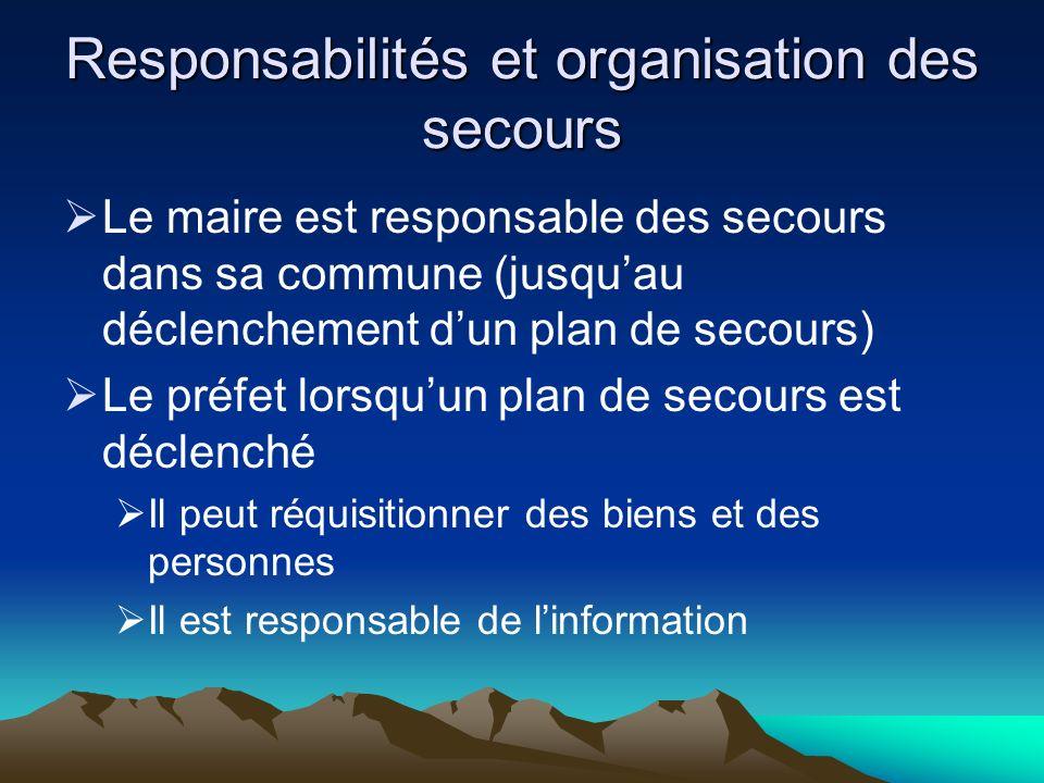 Responsabilités et organisation des secours Le maire est responsable des secours dans sa commune (jusquau déclenchement dun plan de secours) Le préfet