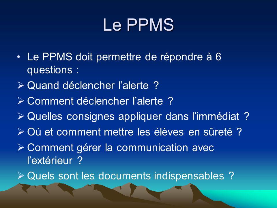 Le PPMS Le PPMS doit permettre de répondre à 6 questions : Quand déclencher lalerte ? Comment déclencher lalerte ? Quelles consignes appliquer dans li