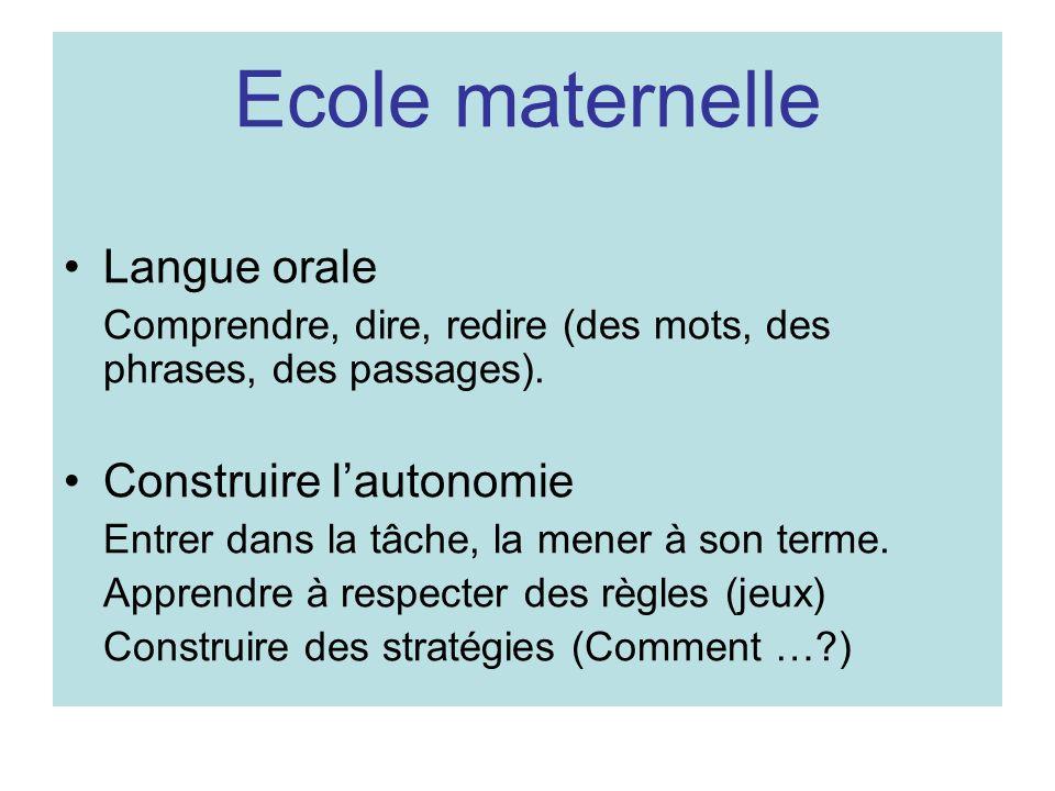 Ecole maternelle Langue orale Comprendre, dire, redire (des mots, des phrases, des passages). Construire lautonomie Entrer dans la tâche, la mener à s