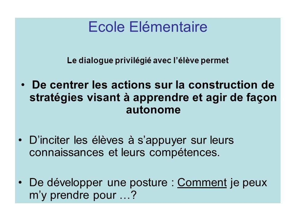 Ecole Elémentaire Le dialogue privilégié avec lélève permet De centrer les actions sur la construction de stratégies visant à apprendre et agir de faç