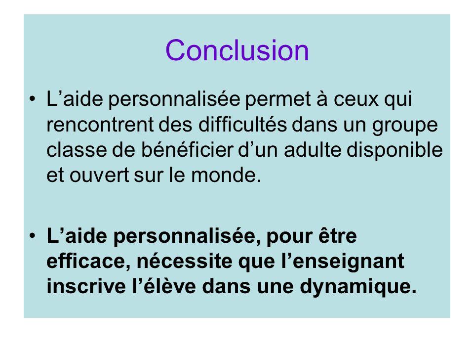 Conclusion Laide personnalisée permet à ceux qui rencontrent des difficultés dans un groupe classe de bénéficier dun adulte disponible et ouvert sur l