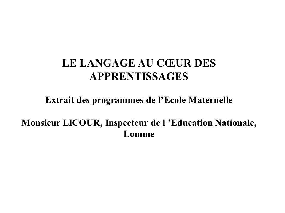 LE LANGAGE AU CŒUR DES APPRENTISSAGES Extrait des programmes de lEcole Maternelle Monsieur LICOUR, Inspecteur de l Education Nationale, Lomme