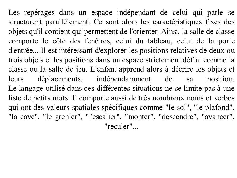 Les repérages dans un espace indépendant de celui qui parle se structurent parallèlement. Ce sont alors les caractéristiques fixes des objets qu'il co