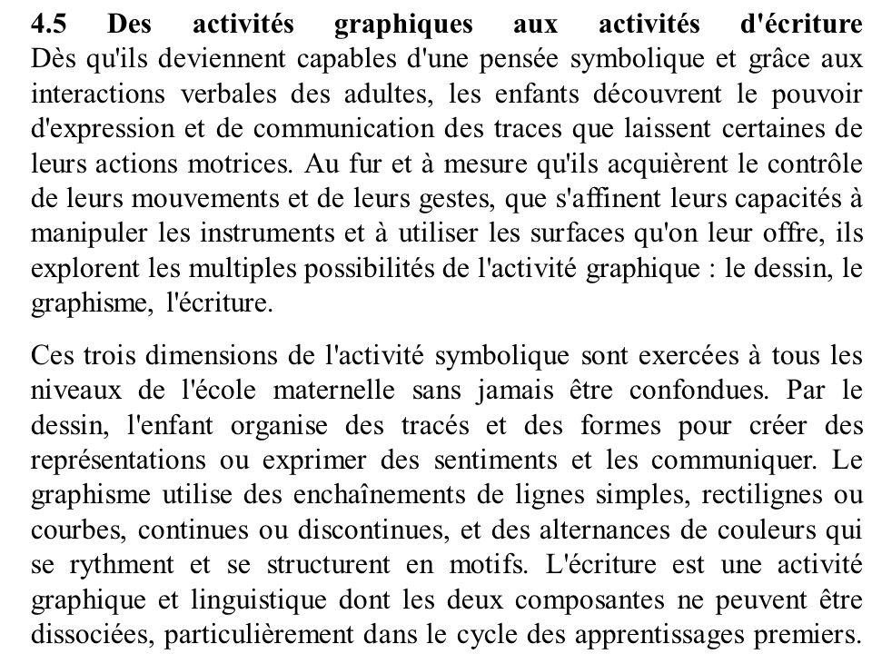 4.5 Des activités graphiques aux activités d'écriture Dès qu'ils deviennent capables d'une pensée symbolique et grâce aux interactions verbales des ad