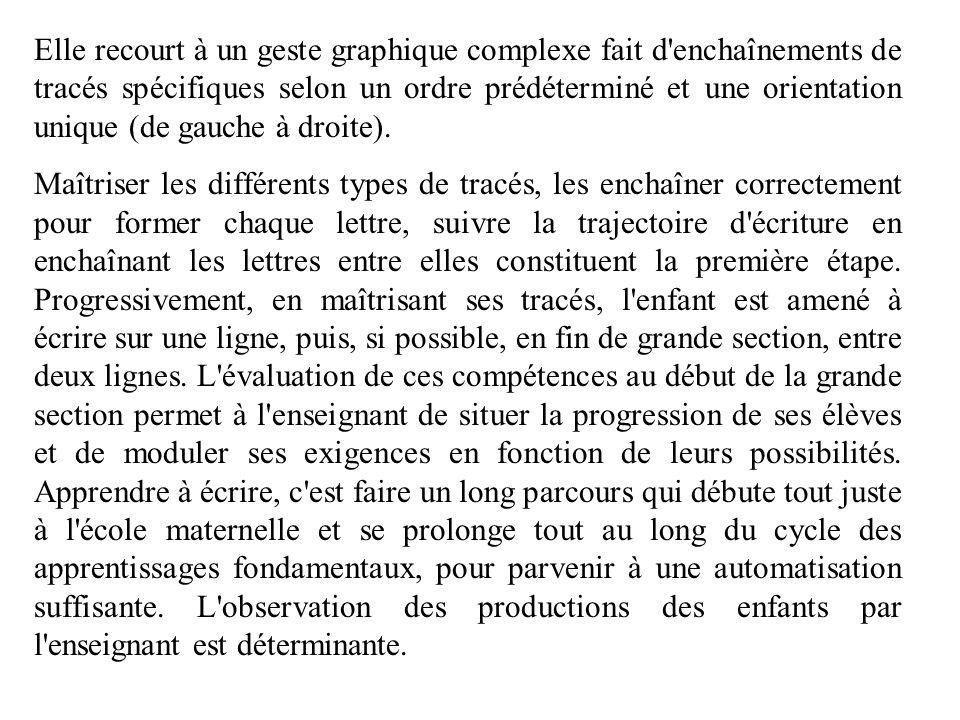 Elle recourt à un geste graphique complexe fait d'enchaînements de tracés spécifiques selon un ordre prédéterminé et une orientation unique (de gauche