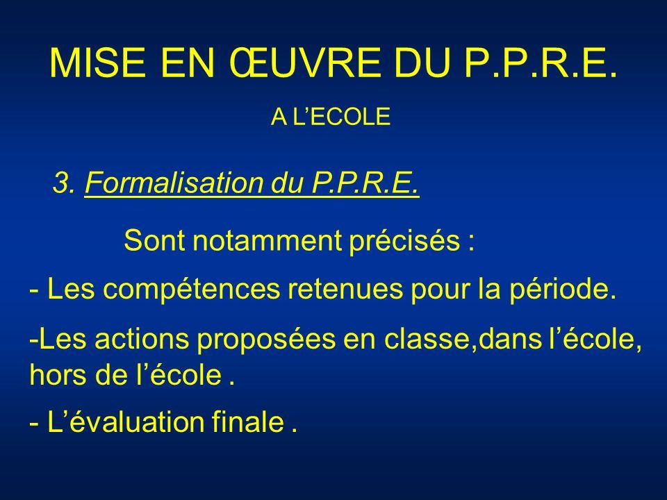 3. Formalisation du P.P.R.E. - Les compétences retenues pour la période. -Les actions proposées en classe,dans lécole, hors de lécole. - Lévaluation f