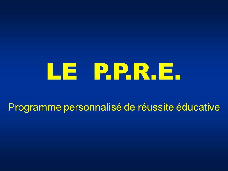 LE P.P.R.E. Programme personnalisé de réussite éducative