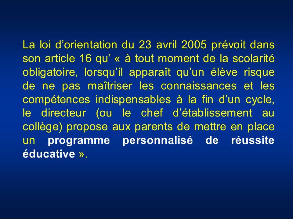 La loi dorientation du 23 avril 2005 prévoit dans son article 16 qu « à tout moment de la scolarité obligatoire, lorsquil apparaît quun élève risque d