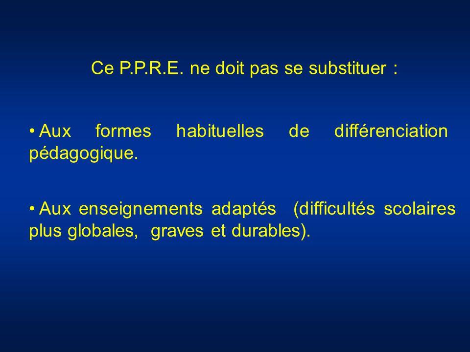 Ce P.P.R.E. ne doit pas se substituer : Aux formes habituelles de différenciation pédagogique. Aux enseignements adaptés (difficultés scolaires plus g