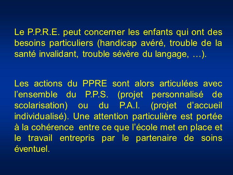 Le P.P.R.E. peut concerner les enfants qui ont des besoins particuliers (handicap avéré, trouble de la santé invalidant, trouble sévère du langage, …)